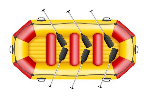 インフレータブルラフティングボート。 Premiumベクター