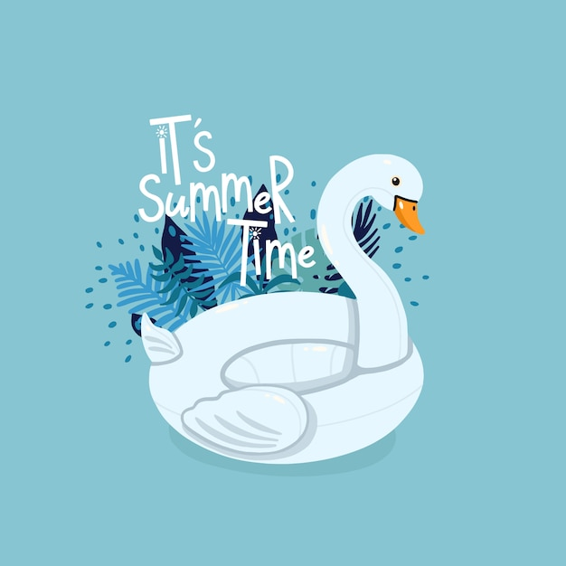 Inflatable swan surrounded by tropical leaves with lettering it's summer time on the blue background Premium Vector