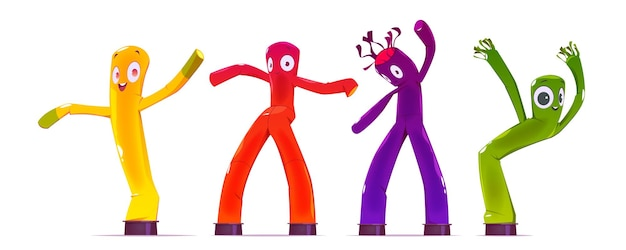 Inflatable tube men, dancing and waving arm advertising characters. Free Vector