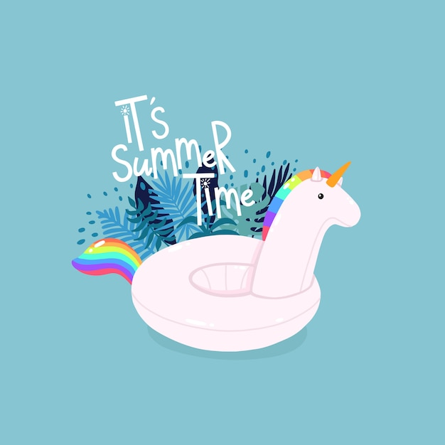 Inflatable unicorn surrounded by tropical leaves with lettering it's summer time on the blue background Premium Vector