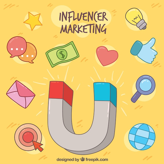 Influence marketing concept with magnet and symbols Free Vector