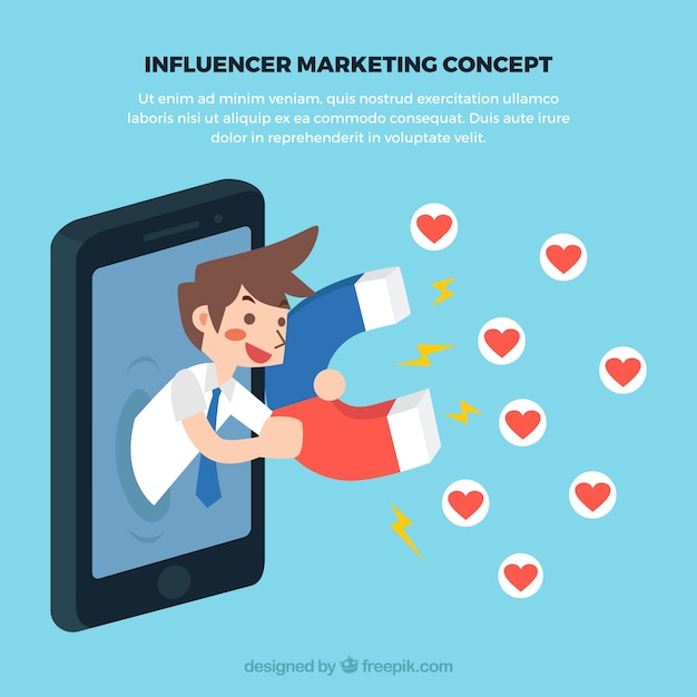 Influence marketing concept with man collecting love Free Vector