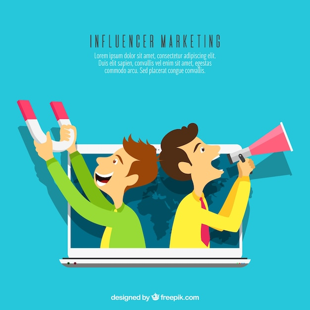 Influence marketing concept with two men with loudspeakers Free Vector