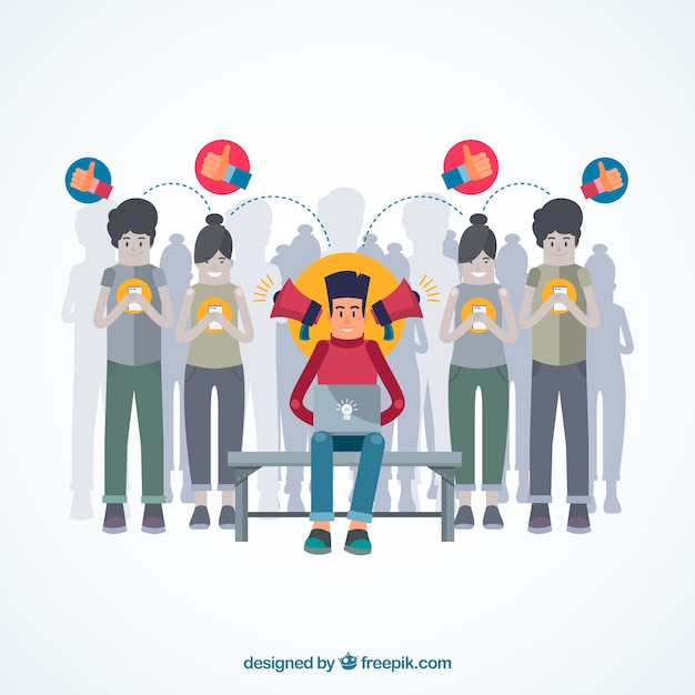 Influence marketing design with persons Free Vector