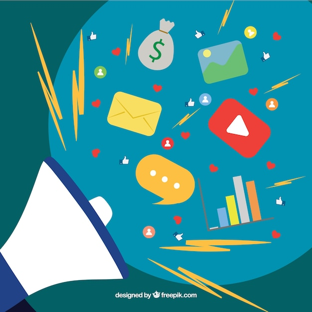 Influence marketing design with speaker Free Vector