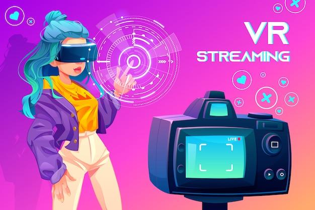 Influencer blogger vr streaming Free Vector