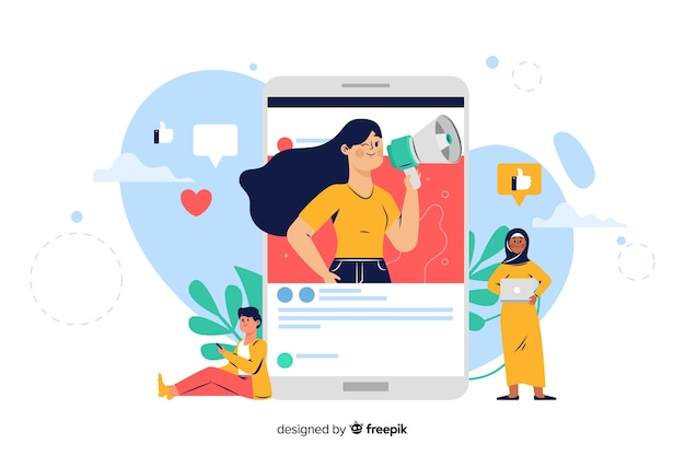 Influencer concept for landing page Free Vector
