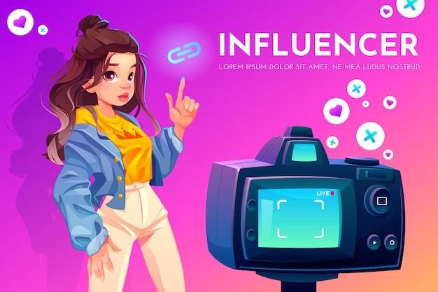 インフルエンサーの女の子のビデオブログ放送。 無料ベクター