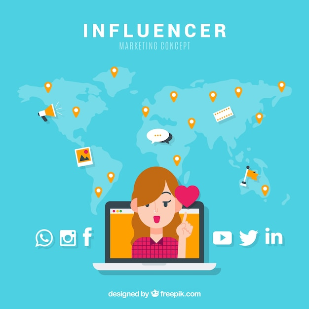 Influencer marketing concept with girl and heart Free Vector