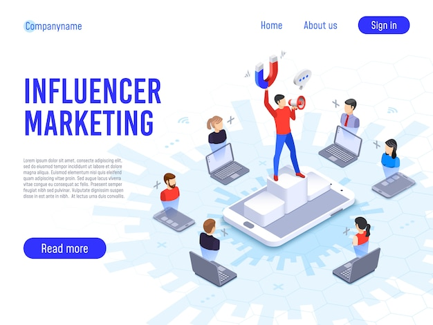 Influencer marketing. influence on b2c clients, potential product buyers or consumer products buyer Premium Vector