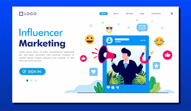 Influencer marketing landing page illustration  template Premium Vector
