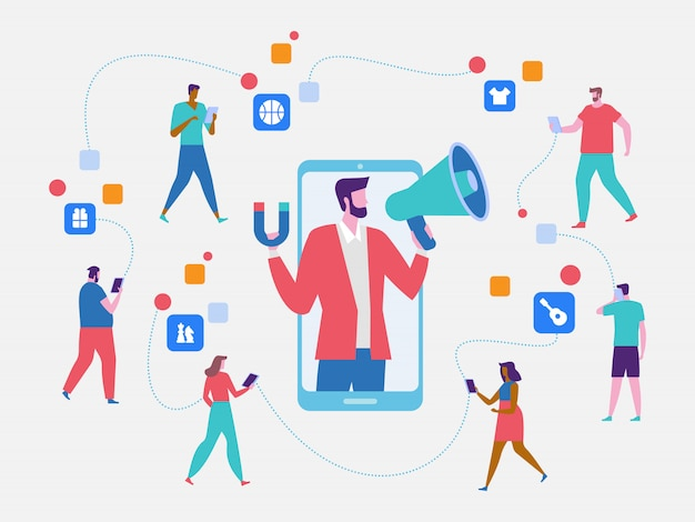 Influencer marketing, potential product buyers Premium Vector