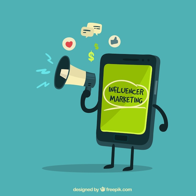 Influencer marketing vector with smartphone holding speaker Free Vector