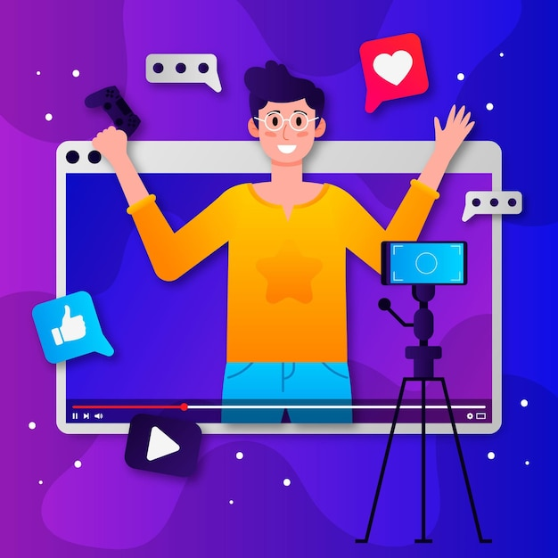 Influencer recording new video concept Free Vector