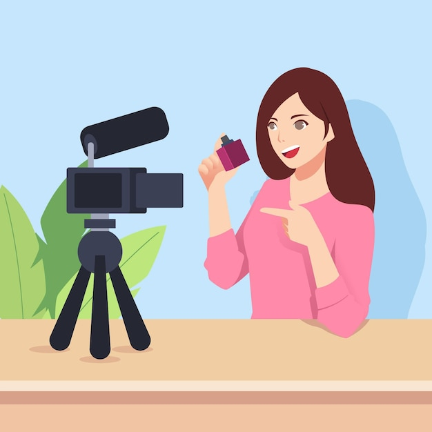 カメラで新しいビデオを記録するインフルエンサー 無料ベクター