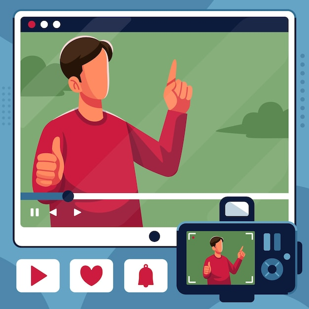 Influencer recording new video Free Vector