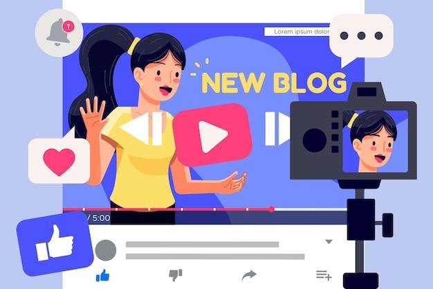 Influencer записывает новое видео в интернете Бесплатные векторы
