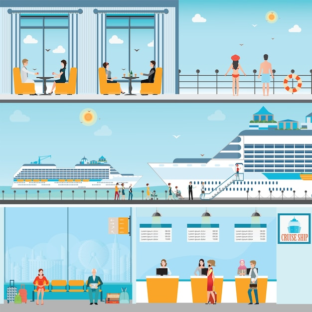 Info of cruise ship terminal at sea port with moored transatlantic liner Premium Vector