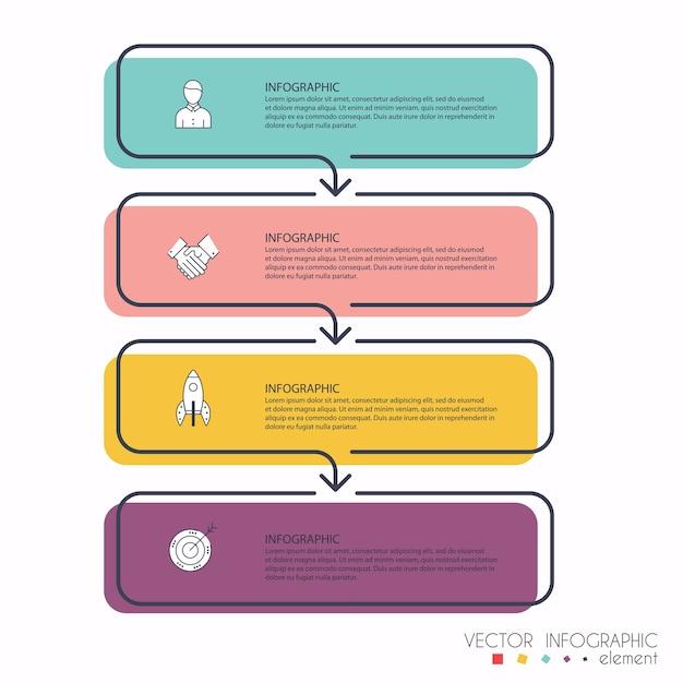 ビジネスプレゼンテーションの情報グラフィック。 webサイトのレイアウト、番号付きバナー、図、水平カットアウトライン、webに使用できます。 Premiumベクター