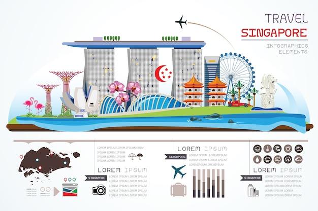 Info graphics singapore template design. Premium Vector