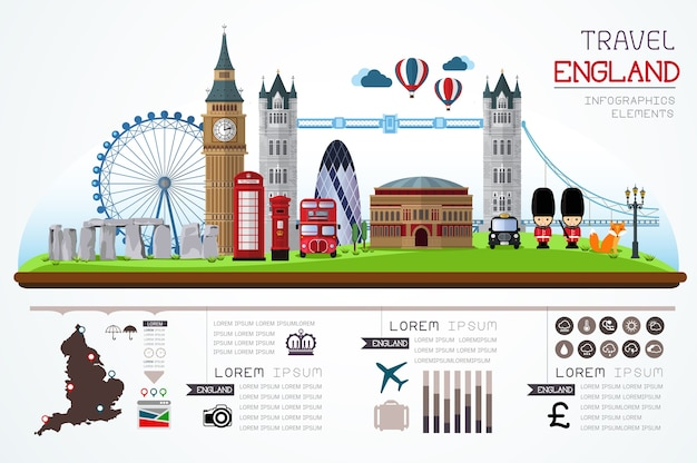 Info graphics travel and landmark england template design. Premium Vector