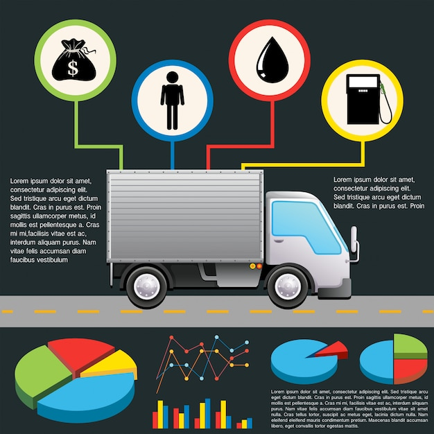 An infochart of a delivery van Free Vector