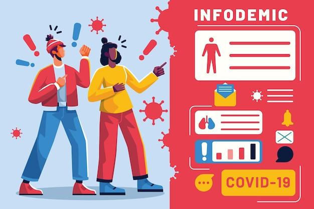 Illustrazione di concetto infodemico Vettore gratuito
