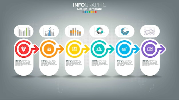 矢印、チャート図、ビジネスオンラインマーケティングの概念とインフォグラフィックステップ色要素。 Premiumベクター