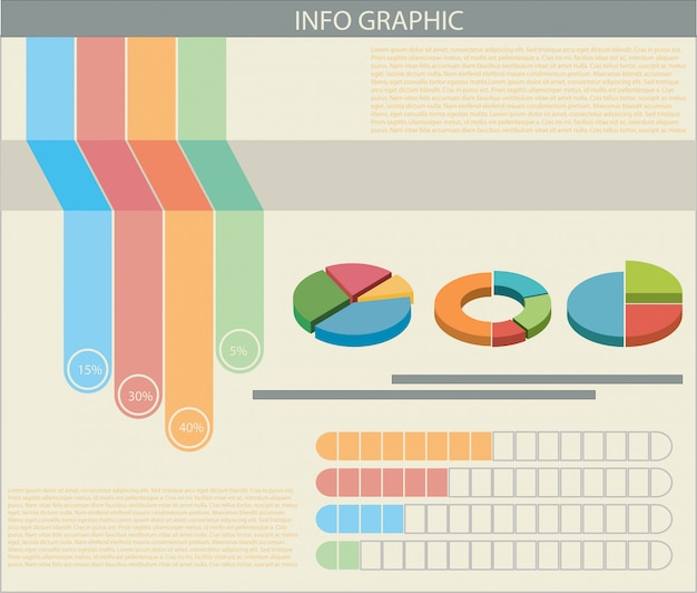 An infograph with colourful graphs Free Vector
