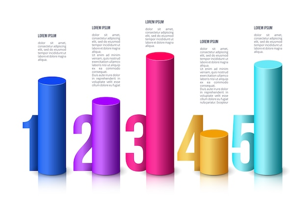 Infographic 3d bars template Free Vector
