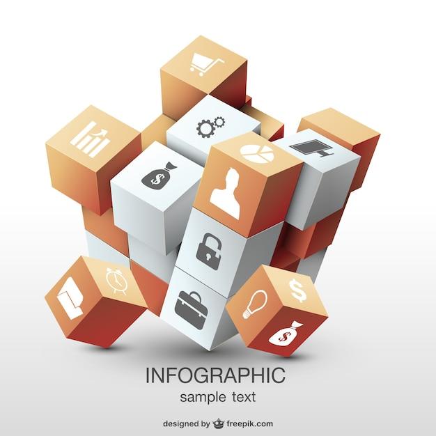Инфографики 3d дизайн куб Бесплатные векторы