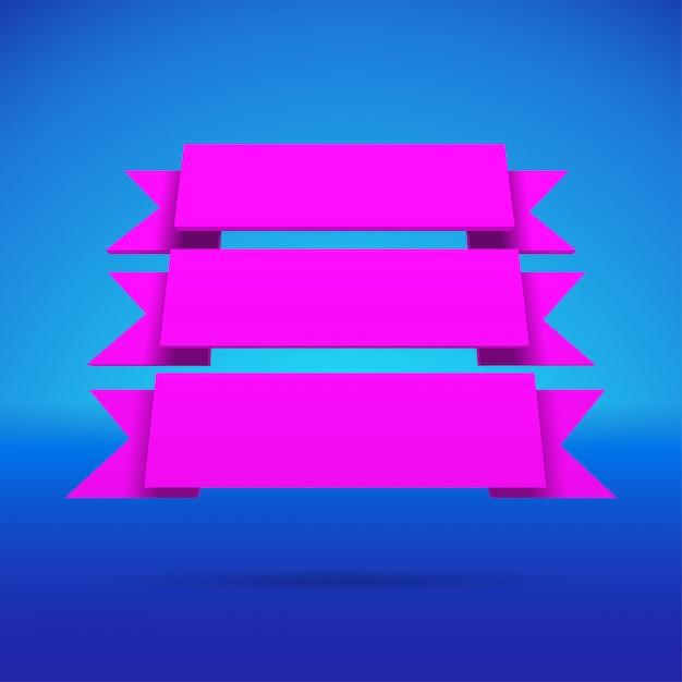Infographic 3d purple ribbons Premium Vector