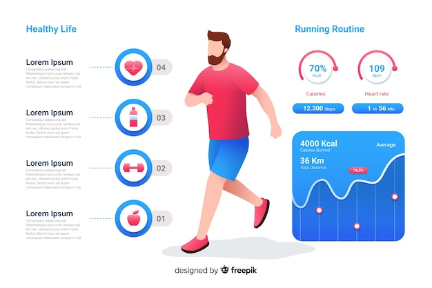Infographic about health flat design Free Vector
