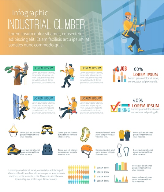 Infographic about industrial climber profession alpinism and equipment for high-altitude work Free Vector