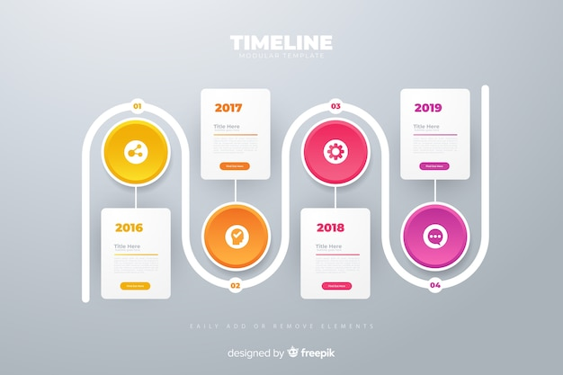 Infographic anual circle charts plan timeline template Free Vector