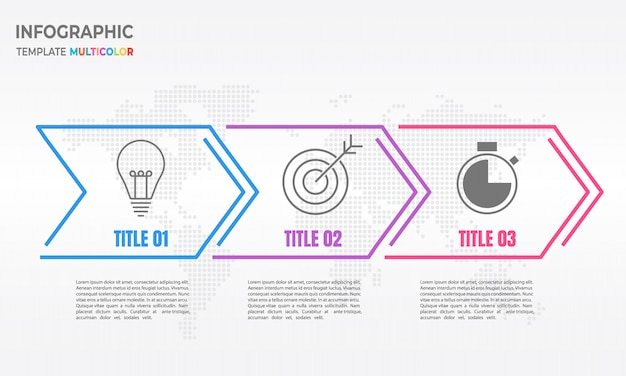 Infographic arrow細線3つのオプション。 Premiumベクター