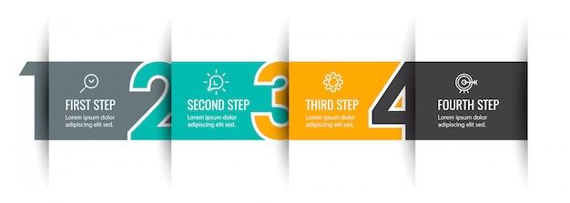 4 가지 옵션 또는 단계가있는 Infographic 화살표 디자인. 비즈니스 개념에 대한 인포 그래픽. 프리미엄 벡터