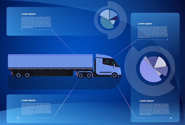Infographic banner cargo truck trailer vehicle over world map worldwide shipping and delivery concept Premium Vector