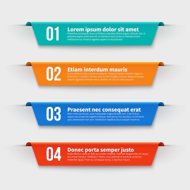 Infographic banners. color labels with steps and options  set Premium Vector