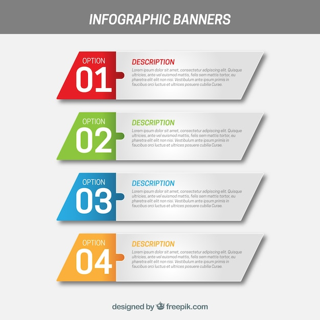 Infographic banners with four irregular squares Free Vector