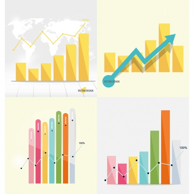 Infographic bar chart collection Free Vector