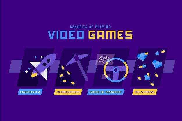 ビデオゲームをプレイすることのインフォグラフィックの利点 無料ベクター
