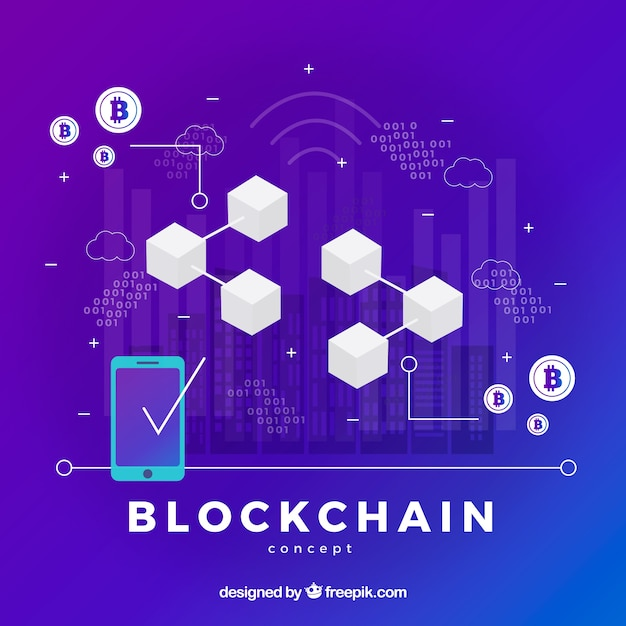 Infographic blockchain concept Free Vector