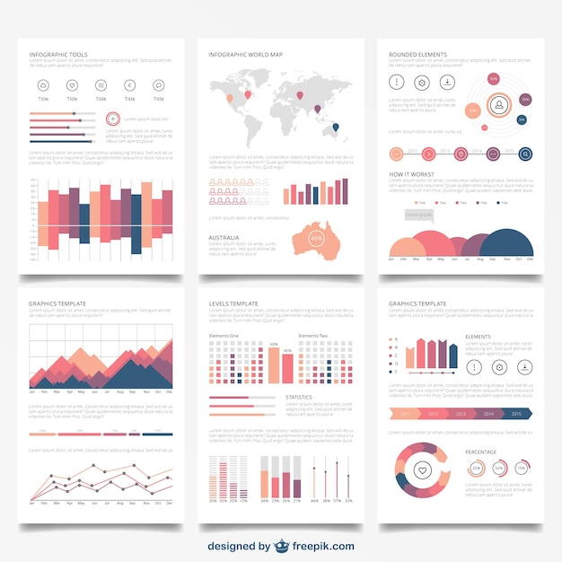 Infographic brochures Free Vector