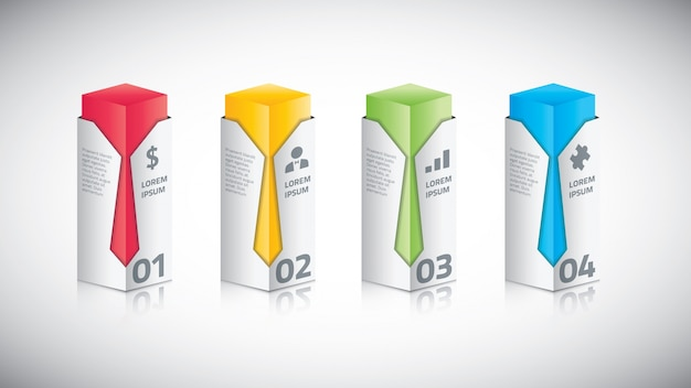 Infographic business bar with tie vector illustration Premium Vector