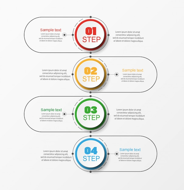 Infographic business concept with 4 steps Premium Vector