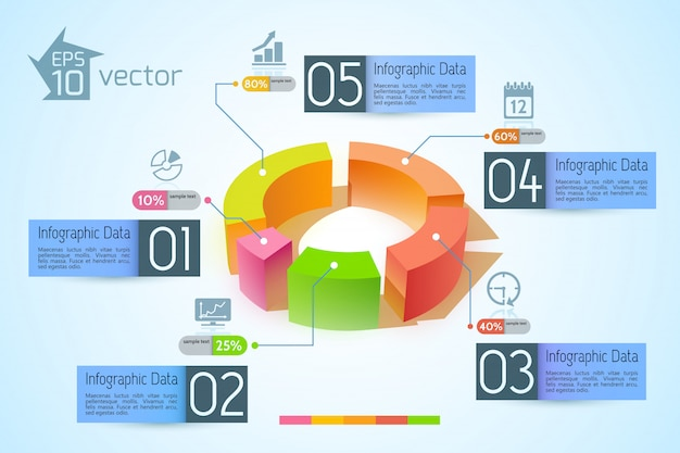 Infographic business concept with colorful 3d diagram five banners text and icons on light illustration Free Vector