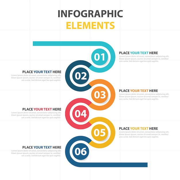 Infographic business template with circular elements for Information technology procedure template