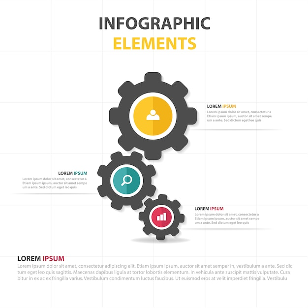 Infographic business template with gear Free Vector
