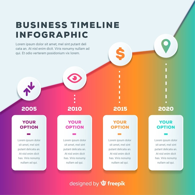 Infographic business timeline Free Vector